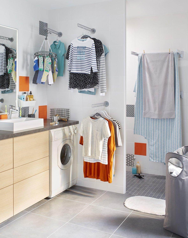 une buanderie dans la salle de bains leroy merlin. Black Bedroom Furniture Sets. Home Design Ideas