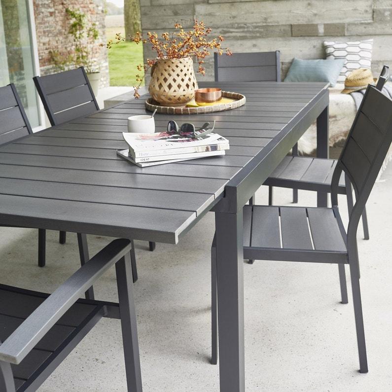 Table de jardin de repas NATERIAL Pratt rectangulaire gris 10 ...