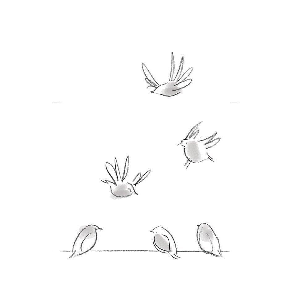 Sticker Oiseaux Sur Un Fil sticker les oiseaux 24 cm x 36 cm