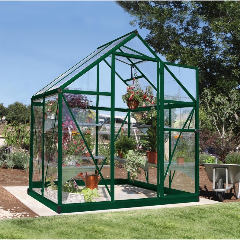 Serre de jardin verte HARMONY 2.3 m², aluminium et polycarbonate, PALRAM