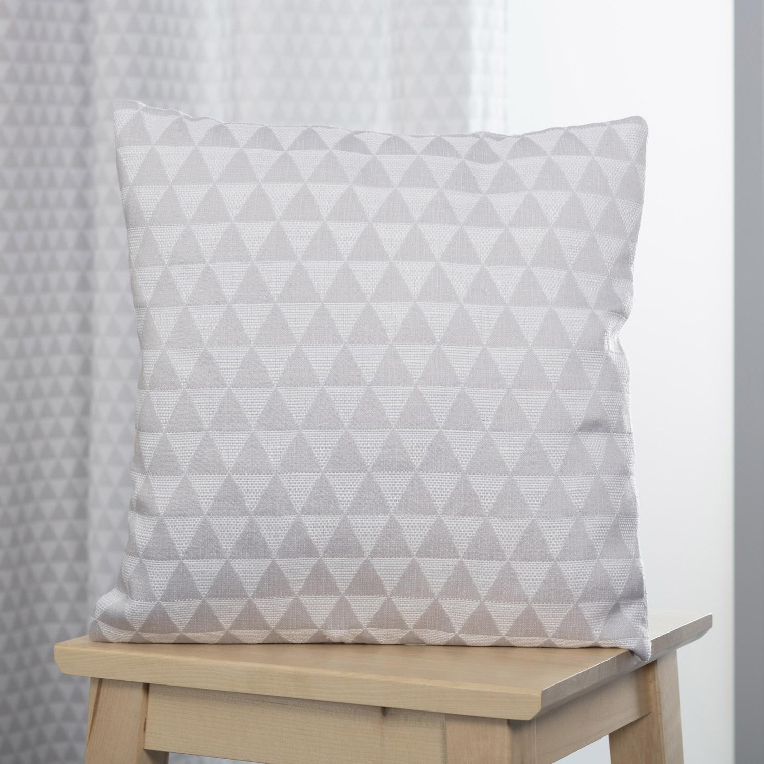 Coussin Ming, gris et blanc l.40 x H.40 cm