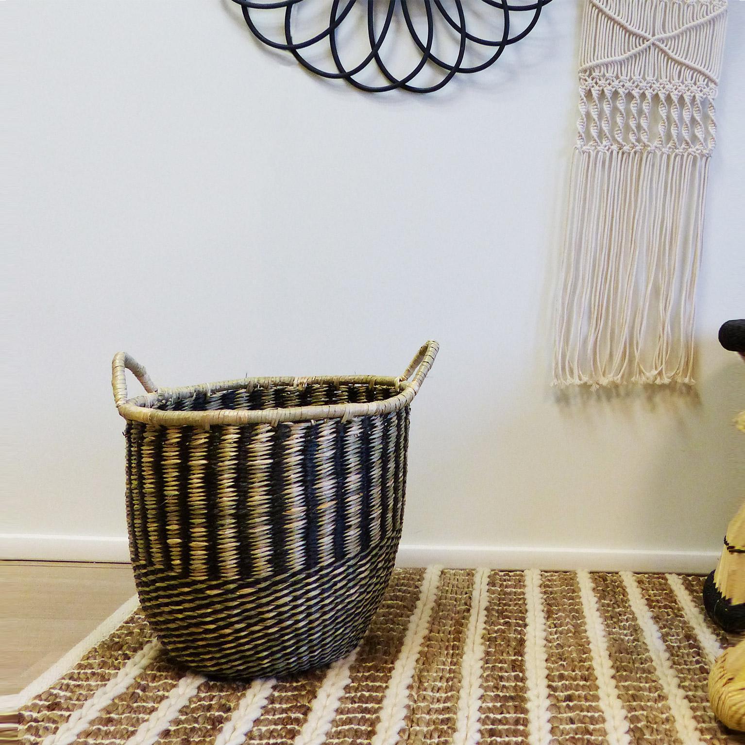Panière décorative fibre naturelle Lagos beige H.38 x l.30 x P.30 cm