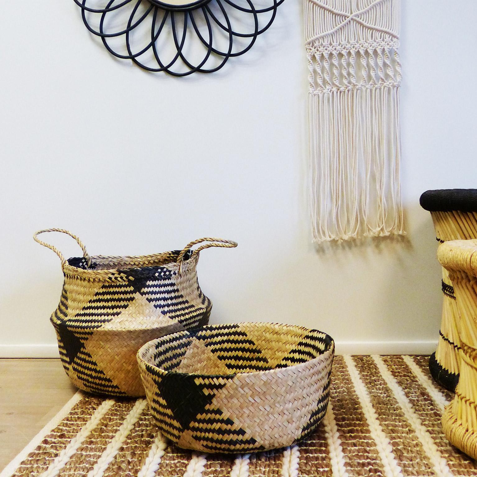 Panière décorative fibre naturelle Pop up cosy beige H.28 x l.34 x P.34 cm