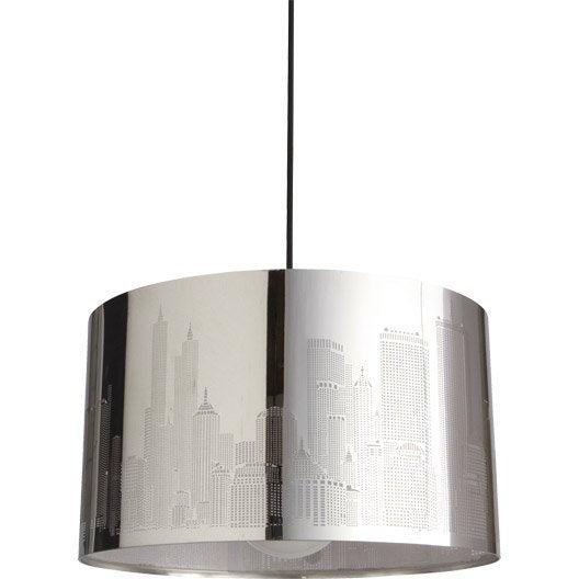 suspension moderne new york m tal gris 1 x 60 w inspire leroy merlin. Black Bedroom Furniture Sets. Home Design Ideas
