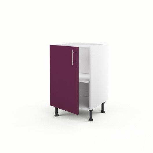 Meuble de cuisine bas violet 1 porte rio x x p for Meuble bas cuisine 50 cm