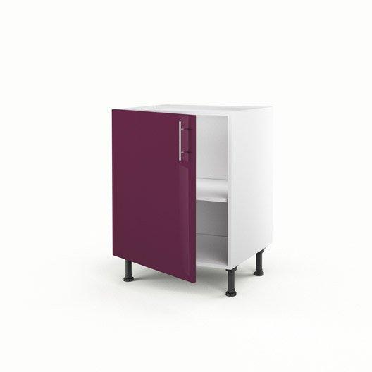 Meuble de cuisine bas violet 1 porte rio x x p for Meuble cuisine hauteur 70 cm