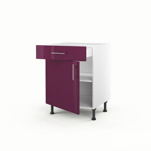 Meuble de cuisine bas violet 1 porte 1 tiroir rio x for Porte de cuisine hauteur 60 cm
