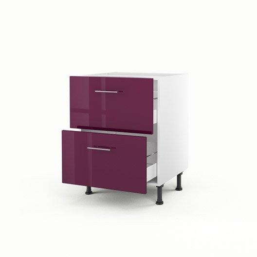 Meuble de cuisine bas violet 2 tiroirs rio x x p - Meuble 70 cm de hauteur ...