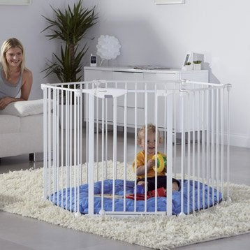 Barrière de sécurité enfant en métal blanc, long. min/max 75/321 cm, H71 cm