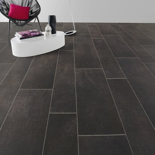 sol pvc noir dark grey tile artens reflex l 4 m leroy merlin. Black Bedroom Furniture Sets. Home Design Ideas