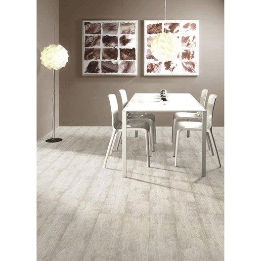 Carrelage sol et mur blanc grisé effet bois Paintwood l.20 x L.60 cm