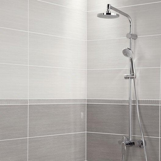 Fa ence mur blanc chloe x cm leroy merlin for Carrelage blanc brillant salle de bain