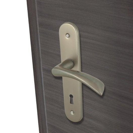 2 poign es de porte azur trou de cl inspire aluminium - Poignee de porte interieur leroy merlin ...