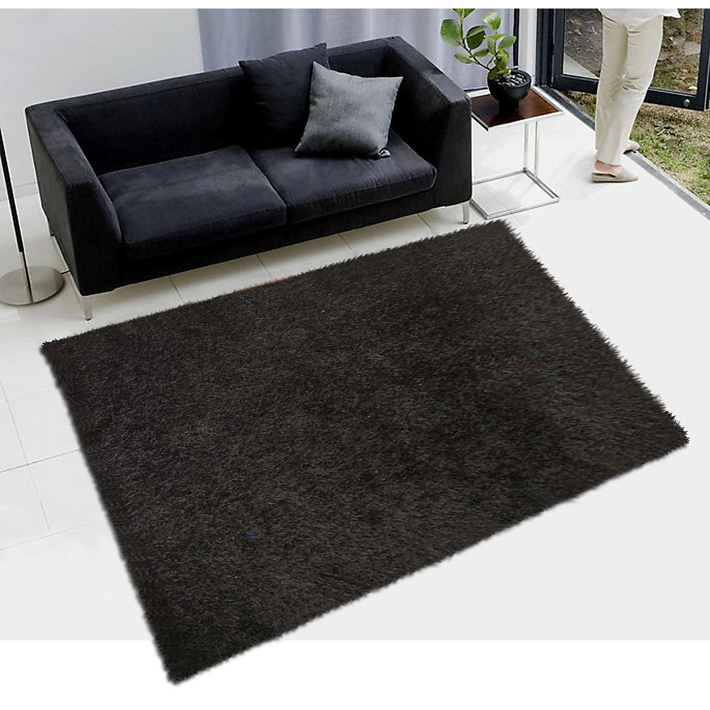 tapis noir shaggy lilou l60 x l110 cm - Tapis Noir