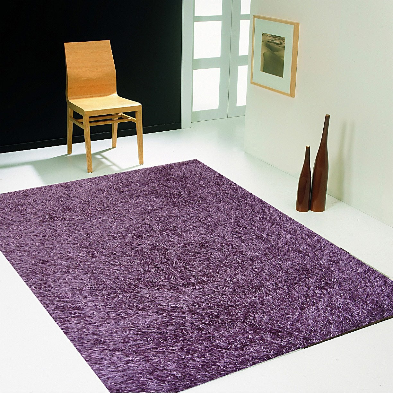 Tapis violet shaggy Lilou, l.60 x L.110 cm | Leroy Merlin