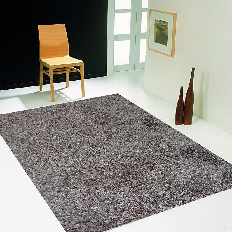 tapis taupe shaggy lilou l60 x l110 cm - Tapis Taupe