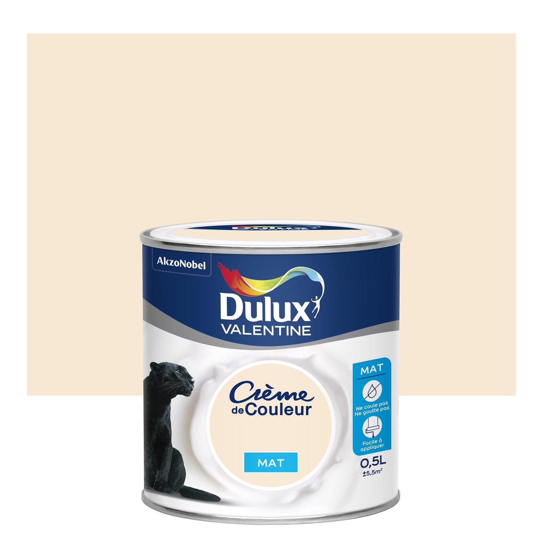 peinture blanc cass mat dulux valentine cr me de couleur 0 5 l leroy merlin. Black Bedroom Furniture Sets. Home Design Ideas