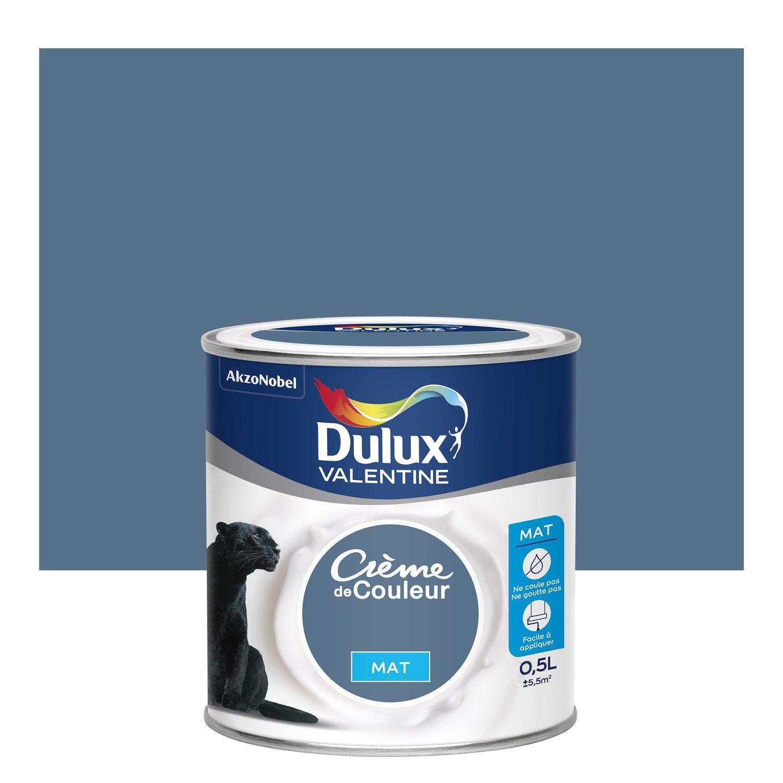 peinture bleu ardoise mat dulux valentine crème de couleur 0.5 l