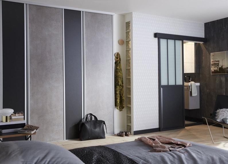 une chambre design avec ses portes de placard coulissantes leroy merlin. Black Bedroom Furniture Sets. Home Design Ideas