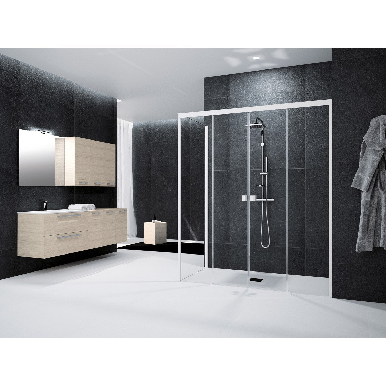 paroi de douche hauteur 180 cm affordable porte de douche pour salle de bain idee amenagement. Black Bedroom Furniture Sets. Home Design Ideas