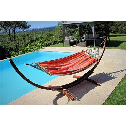 support et toile de hamac porto rico rouge orange. Black Bedroom Furniture Sets. Home Design Ideas