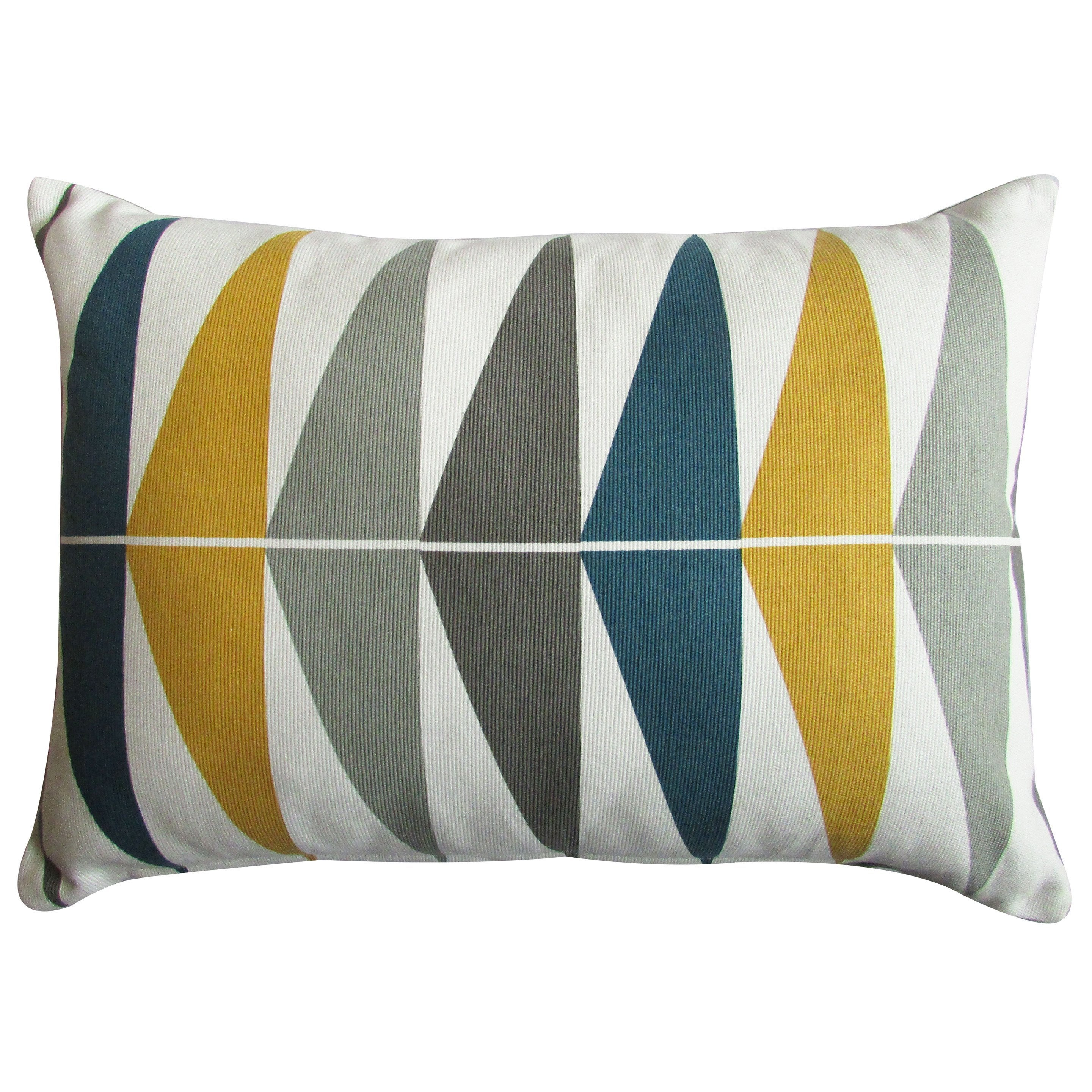 coussin triangles inspire, bleu / moutarde l.50 x h.35 cm | leroy merlin