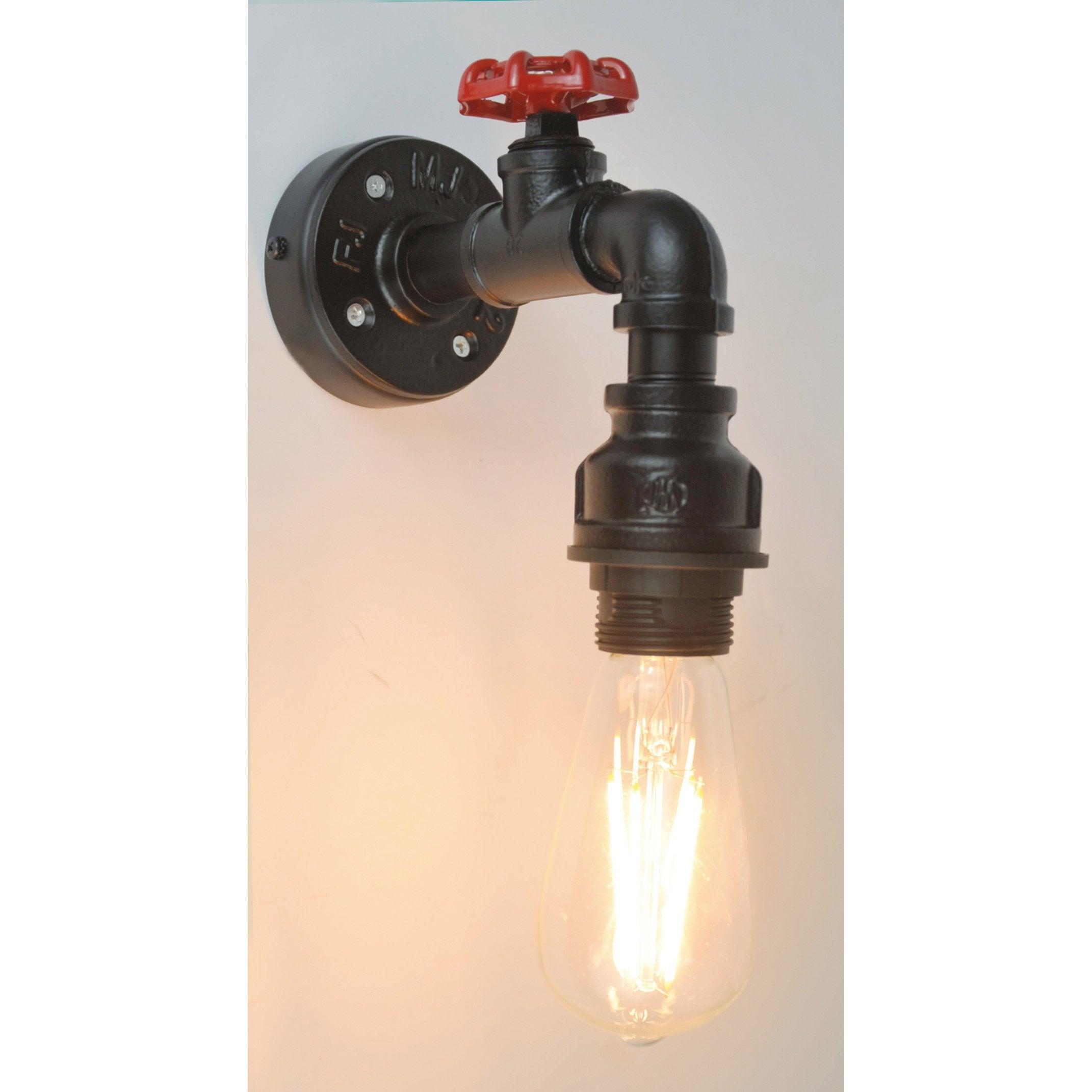 Applique, industriel métal noir / rouge SAMPA HELIOS Robin 1 lumière(s)