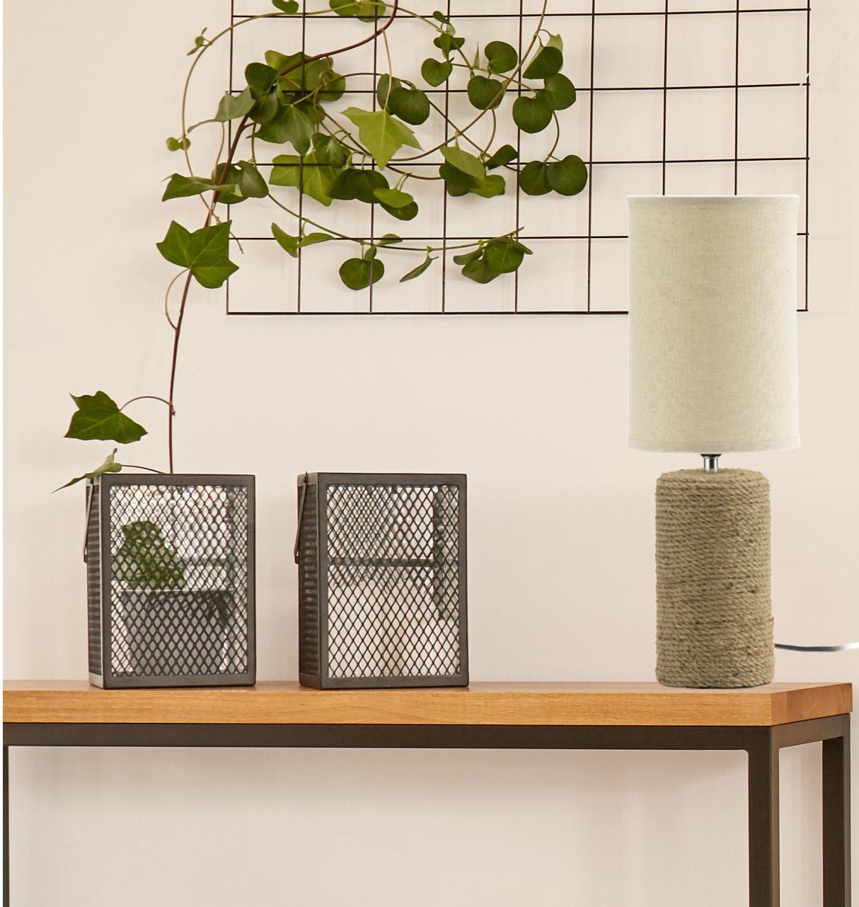 Lampe Céramique Pied En Céramique Et Corde Naturel Marron Abat Jour En Tissu 1