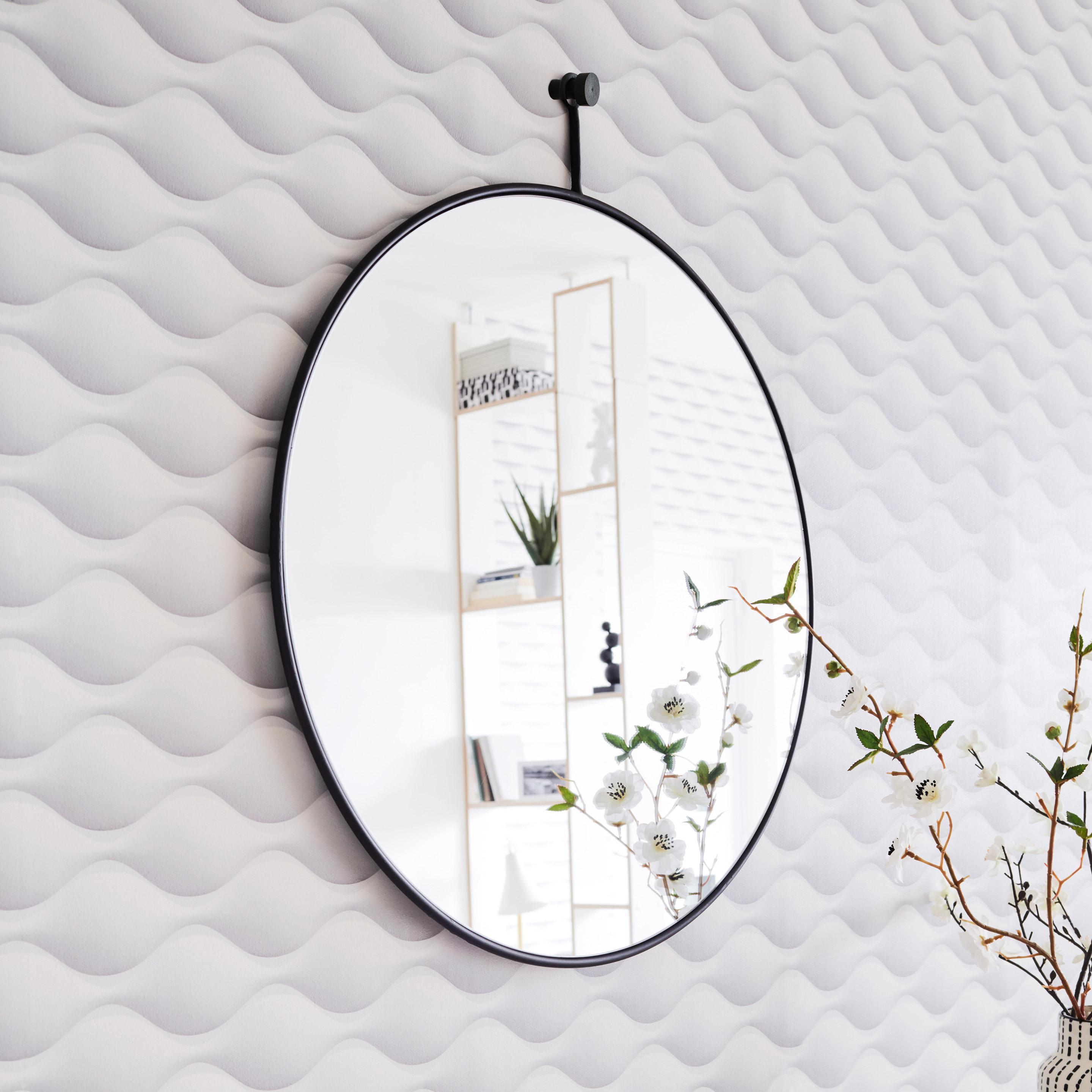 Miroir rond Patch métal, noir diam.60 cm