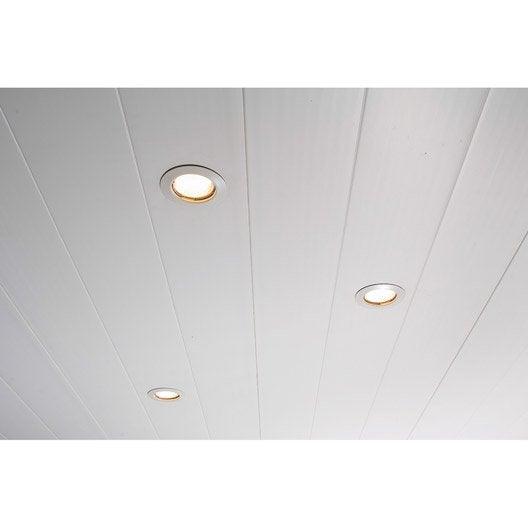 Lambris pvc blanc dumaplast x cm x ep 8 mm for Lambris pvc plafond 4 metres