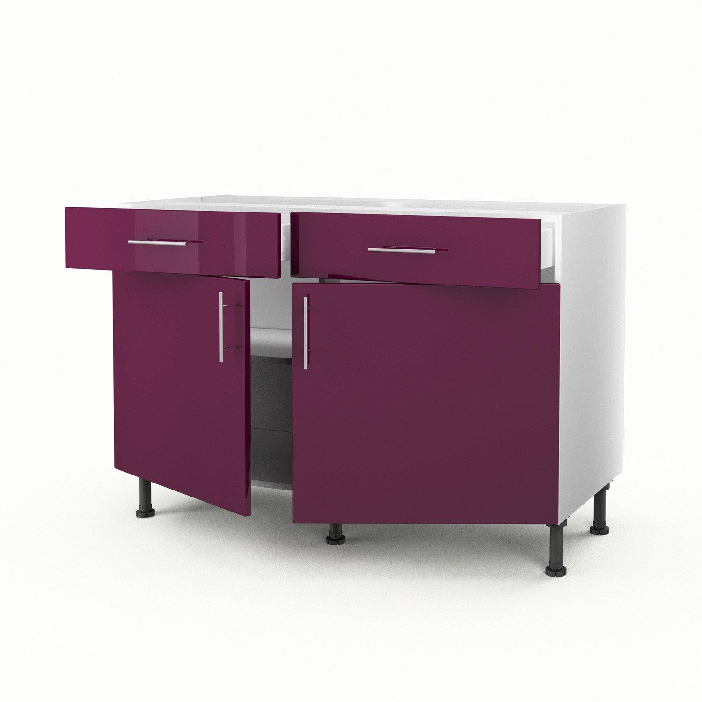 meuble de cuisine bas violet 2 portes 2 tiroirs rio h70 x l120 x p56 cm