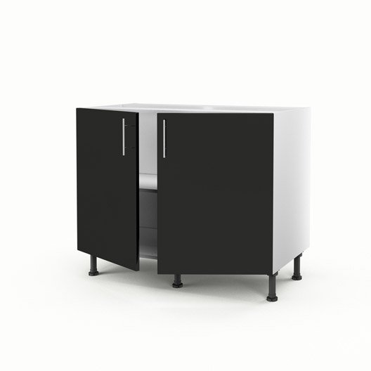 meuble de cuisine bas noir 2 portes rio x x cm leroy merlin. Black Bedroom Furniture Sets. Home Design Ideas