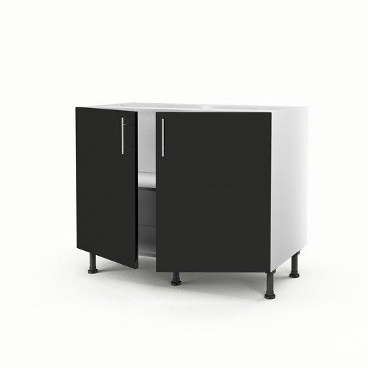Meuble de cuisine bas noir 2 portes rio x x p for Meuble cuisine hauteur 70 cm
