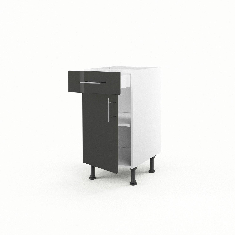 Meuble de cuisine bas gris 1 porte 1 tiroir rio x l for Meuble cuisine profondeur 70 cm