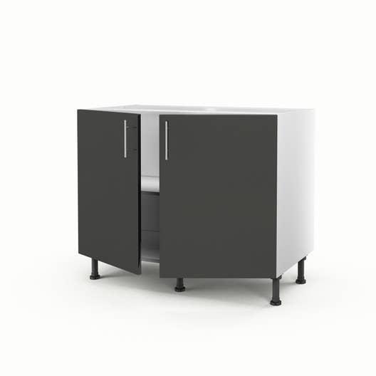meuble de cuisine bas gris 2 portes rio h70 x l100 x p56 cm