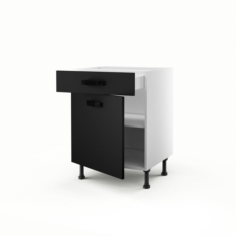 Meuble De Cuisine Bas Noir 1 Porte 1 Tiroir Mat Edition H 70 X L  # Meuble Tv Leroy Merlin
