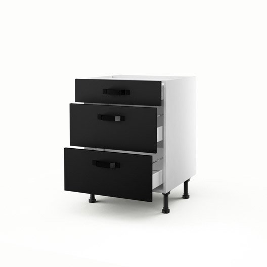 meuble de cuisine bas noir 3 tiroirs mat edition x x cm leroy merlin. Black Bedroom Furniture Sets. Home Design Ideas