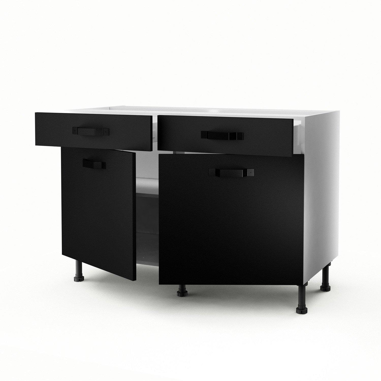 meuble de cuisine bas noir 2 portes2 tiroirs mat edition h70 x l120 x p56 cm