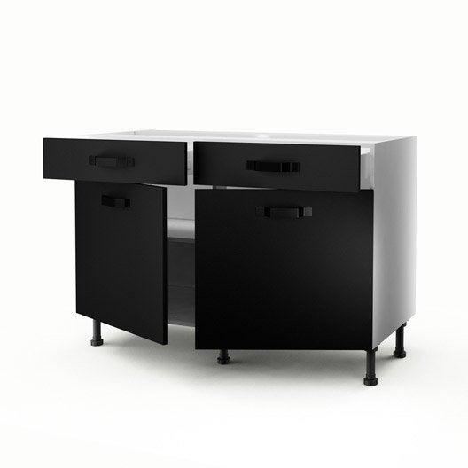 meuble de cuisine bas noir 2 portes 2 tiroirs mat edition x x cm leroy merlin. Black Bedroom Furniture Sets. Home Design Ideas