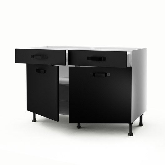 Meuble de cuisine bas noir 2 portes 2 tiroirs mat edition for Meuble cuisine noir mat