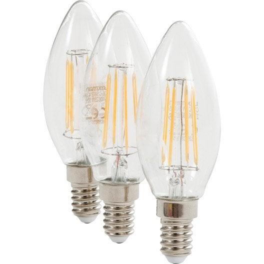 3 ampoules filament flammes led 5w 470lm quiv 40w e14. Black Bedroom Furniture Sets. Home Design Ideas