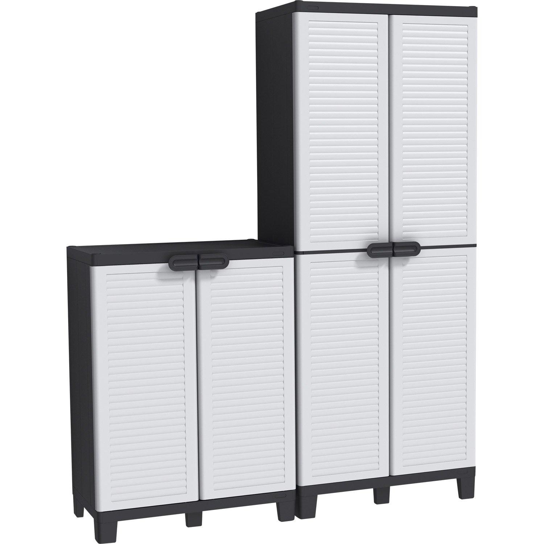 lot de 2 armoires r sine haute et basse blanc allibert. Black Bedroom Furniture Sets. Home Design Ideas