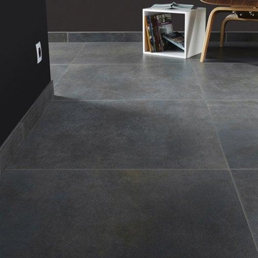 Carrelage sol et mur gris smoke effet b ton live x for Carrelage 30x60 gris