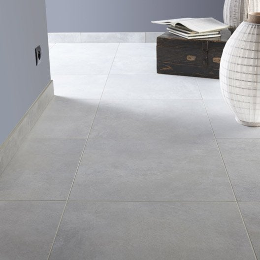 Carrelage sol et mur gris brume effet b ton live x l for Carrelage 75x75