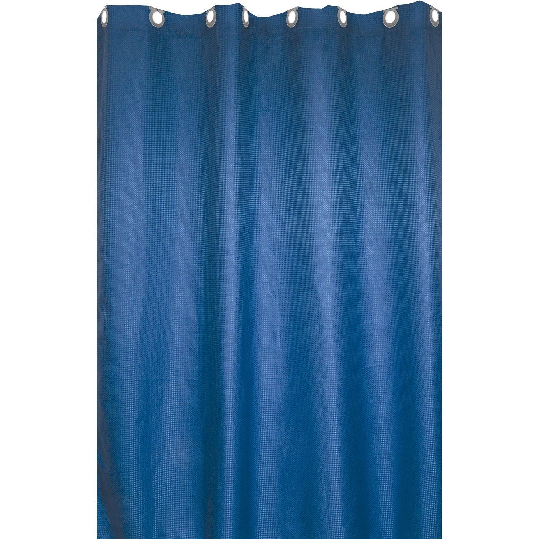 Rideau de douche en textile bleu baltique n°3 l.180 x H.200 cm, Maya SENSEA