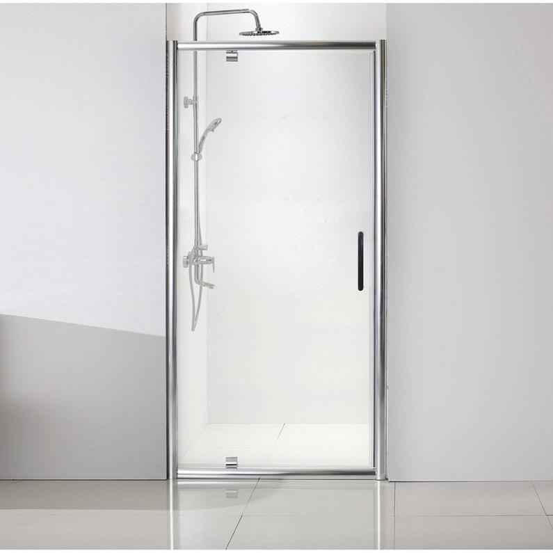 Porte de douche pivotante 90 cm, transparent, Quad   Leroy Merlin 18249b6b727