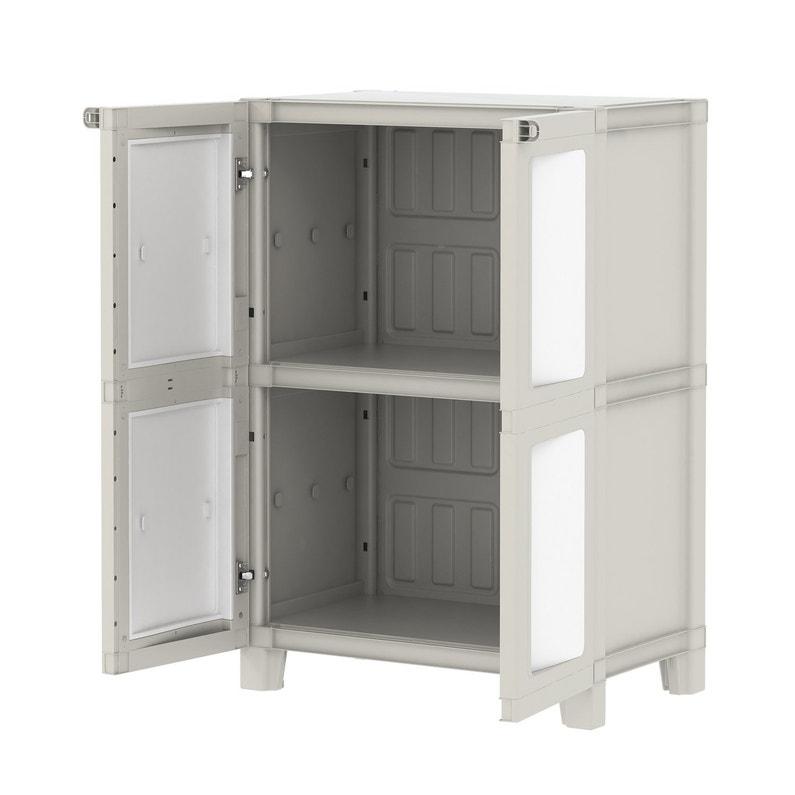 Armoire Basse Plastique 1 étagère Spaceo Modulize L 65 X H 95 X P 40 Cm