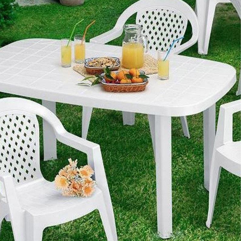 Table de jardin de repas Otello ovale blanc 4/6 personnes