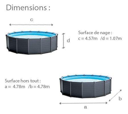 Piscine hors sol tubulaire graphite intex diam x h 1 for Dimension piscine hors sol intex