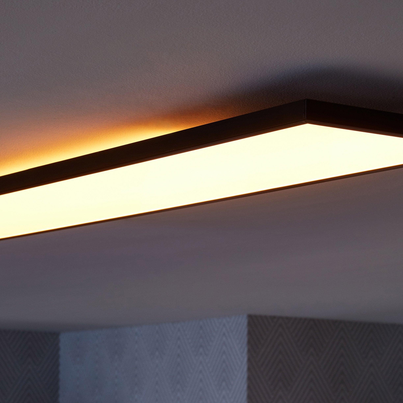 Panneau LED 90 x 20 cm, 22 W, éclairage indirect, blanc chaud à froid, noir